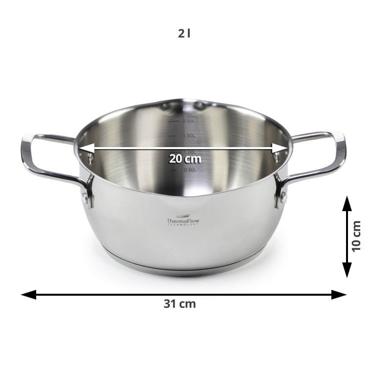 Pour & Cook čelični lonac sa staklenim poklopcem promjera 20 cm i zapremnine 2 l odlikuje se neuništivim čelikom 18/10, čeličnim dnom u 3 sloja koje omogućava brzo i ravnomjerno zagrijavanje i kraće vrijeme kuhanja. ThermoFlow tehnologija osigurava izvrsnu raspodjelu topline po cijeloj površini posude i ravnomjerno kuhanje. Za lakše kuhanje lonac ima mjernu skalu, prilagođen poklopac i rub koji je usmjeren prema van. Primjeren je za sve površine za kuhanje, uključujući indukciju, Jednostavno se pere. Primjeren za perilicu posuđa.