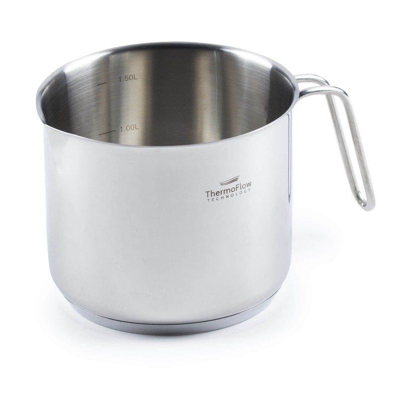 Lončić za mlijeko POUR & COOK je zapremnine 1.5 l. Odlikuje ga 3-slojno dno od visoko izdržljivog čelika koji osigurava brzo zagrijavanje i kraće vrijeme kuhanja.