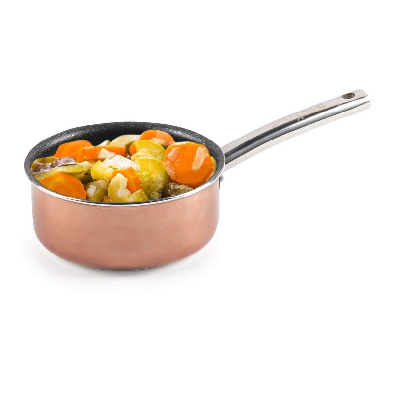 Lončić s ručkom Basté promjera 16 cm s učinkom kuhanja na vrućem kamenju i neprianjajućim glatkim mineralnim premazom omogućuje prirodan način kuhanja i pečenja s minimalno masnoća. Hrana na taj način zadržava sve potrebne vitamine i minerale koje naše tijelo treba za zdrav način života. Primjeren za sve ploče za kuhanje i indukciju. Jednostavno se pere. Primjereno i za perilicu posuđa. Svo posuđe iz Basté linije karakterizira višeslojni sastav što jamču dugi životni vijek te visok stupanj otpornosti i izdržljivosti posuđa.