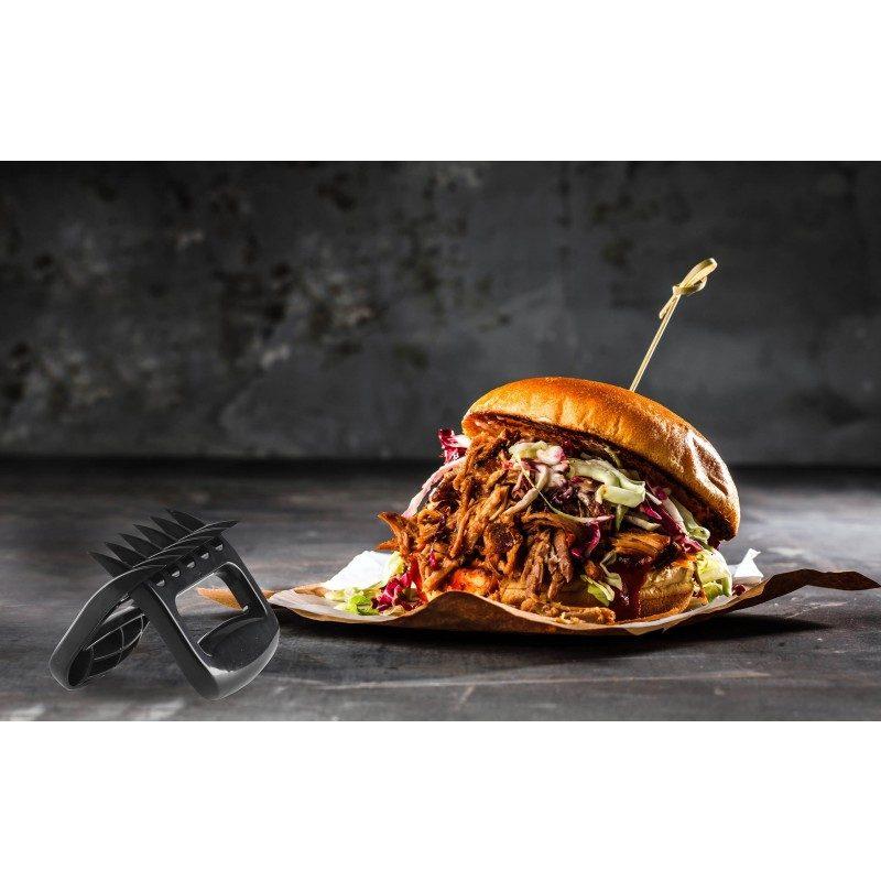 Nema više uvrnutih vilica i napornog rezanja mesa! Set od dvije praktične kandže omogućuje vam da u samo nekoliko sekundi usitnite različite vrste mesa, poput svinjetine, piletine, govedine, pa je uporaba vilica ili prstiju stvar prošlosti. Zahvaljujući obliku i oštrini kandži, meso će se savršeno rastrgati na manje komade bez ikakvih problema. Kandže možete koristiti i kao držač za meso, jer će biti idealan dodatak za rezanje većih komada mesa ili kao pomoćno sredstvo za prenošenje namirnica kako se više ne biste opekli. Set je izrađen od visokokvalitetne i izdržljive plastike, otporne na udarce i oštećenja. Dovoljno velik prostor u području rukohvata, pruža vam ugodno i lako rukovanje. Zbog svoje male veličine, set je idealan za izlet ili kampiranje. Jednostavno čišćenje i u perilici posuđa.