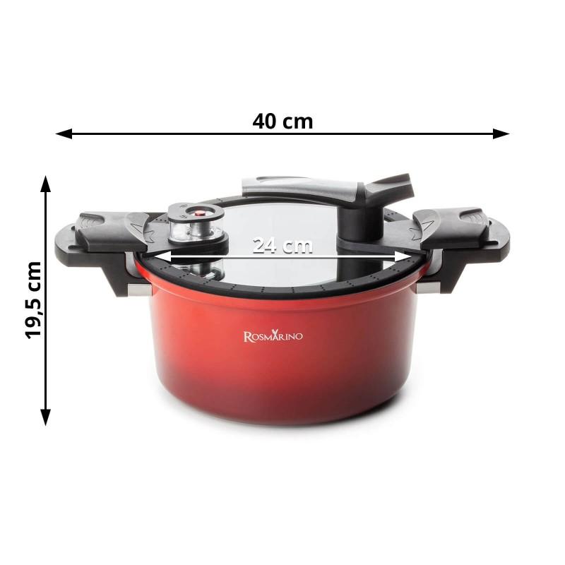 Lonac Rosmarino za kuhanje pod pritiskom, promjera 24 cm, od kvalitetnog aluminija omogućuje brže, sigurnije i zdravije kuhanje pod niskim pritiskom. Lonac možete koristiti za kuhanje pod pritiskom, kuhanje na pari ili pirjanje. Time hrana zadržava sve hranjive sastojke, vitamine i minerale. Istovremeno lonac možete koristiti za klasičan način kuhanja, sa i bez poklopca. Lonac za kuhanje pod pritiskom skraćuje vrijeme kuhanja za čak 50% i štedi do 70% energije. Zahvaljujući kvalitetnom mineralnom premazu lonac omogućuje kuhanje bez prianjanja. Primjeren za sve vrste površina za kuhanje, uključujući indukciju. Pranje je vrlo jednostavno.