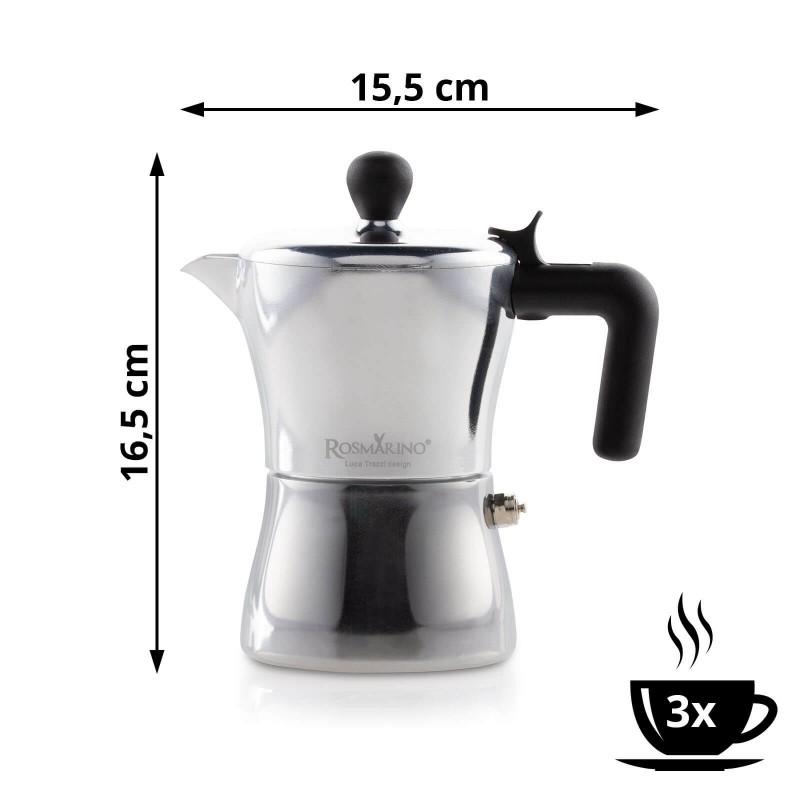 Kafetijera Rosmarino zapremnine 150 ml je savršena za pripremu od 1 do 3 šalice kave. Izrađena od aluminija i presvučena slojem od nehrđajućeg čelika te je pogodna za upotrebu na indukciji. Paket uključuje i dodatak za pripremu jedne šalice kave. Minimalističan dizajn poznatog industrijskog dizajnera Luce Trazzija sa ergonomskom ručkom od SoftTouch materijala jamči još jednostavniju pripremu kave. Nakon upotrebe kafetijeru jednostavno isperite pod tekućom vodom.