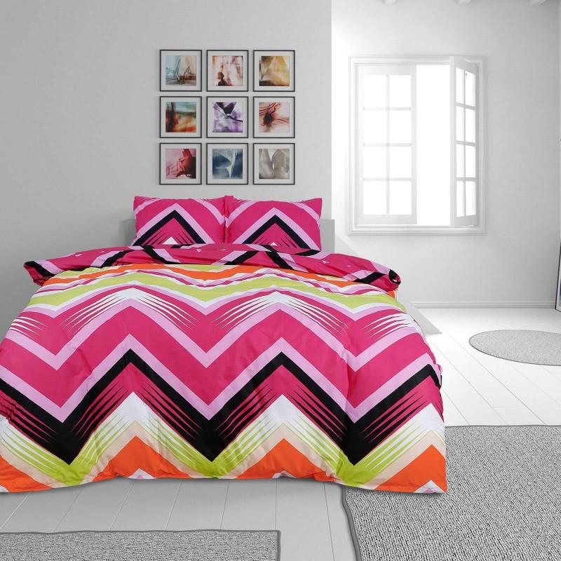 Vrijeme je za potpuno uživanje u modernim pamučnim posteljinama! Posteljina Zig Zag od renforce platna, mekane tkanine, jednostavne za održavanje. Neka vas oduševi moderan dizajn s prugicama za udoban i ugodan san. Posteljina je periva na 40 °C.