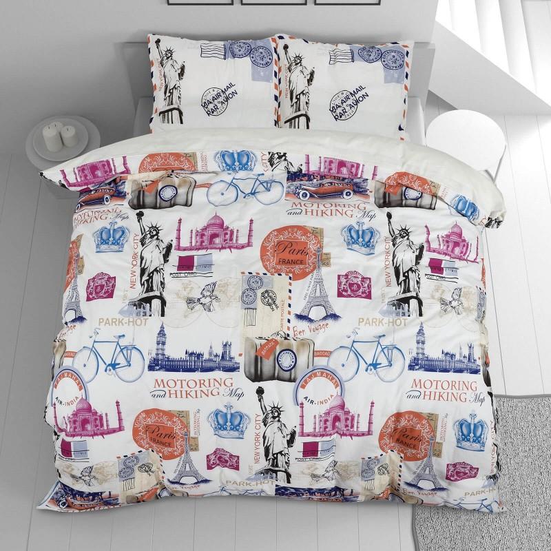 Vrijeme je za potpuno uživanje u modernim pamučnim posteljinama! Posteljina Traveler od renforce platna, mekane tkanine, jednostavne za održavanje. Neka vas oduševi moderan dizajn s printom za udoban i ugodan san. Posteljina je periva na 40 °C.