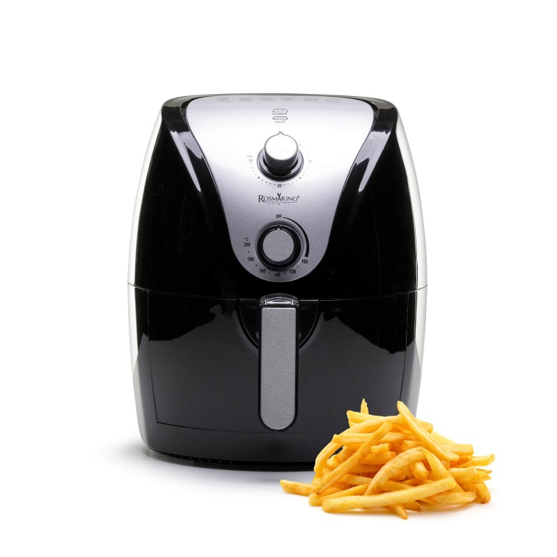 """Recite """"stop"""" ulju i uživajte u ukusnim obrocima bez masnoće i ulja! Friteza na vrući zrak Rosmarino Infinity oduševiti će vas zdravijim revolucionarnim načinom prženja sastojaka na vrućem zraku. Obroci tako imaju manje kalorija i ulja, a istovremeno zadržavaju okus i teksturu pržene hrane. Ova vrsta tehnologije omogućuje vam pripremu omiljenih krumpirića, batata, ribljih štapića, prženih pilećih bedara i svih prženih slastica s čak 75% manje masti. Najlakši put do omiljene hrane bez grižnje savjesti i manje brojanja kalorija."""