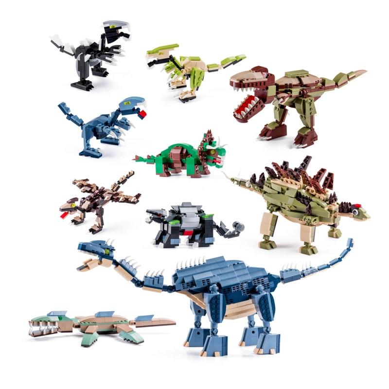 10-dijelni set dinosaura za kreiranje pravog malo životinjsko carstvo. Kocke potiču dijete na igru, kreativno razmišljanje i učenje. Djeca kroz igru razvijaju finu motoriku i opažanje predmeta u prostoru. Kocke su primjerene za djecu stariju od 6 godina.