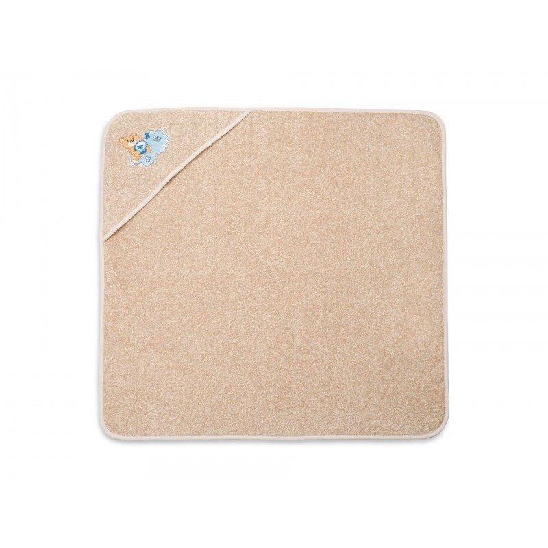Dječji ručnik s kapuljačom izrađen je od 100% pamuka. Najmlađi će biti impresionirani izvezenim motivom plavog medvjeda. U dimenzijama 80 x 80 cm.