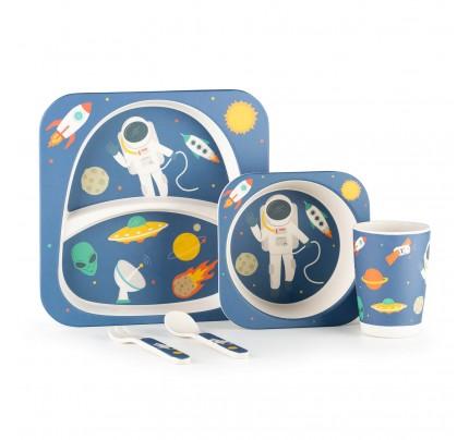 5-dijelni dječji bambus set za jelo Rosmarino - Astronaut