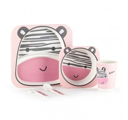 5-dijelni dječji bambus set za jelo Rosmarino - Zebra
