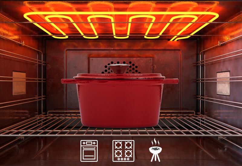 Prikladna za upotrebu na svim vrstama površina za kuhanje, uključujući indukciju i pećnicu